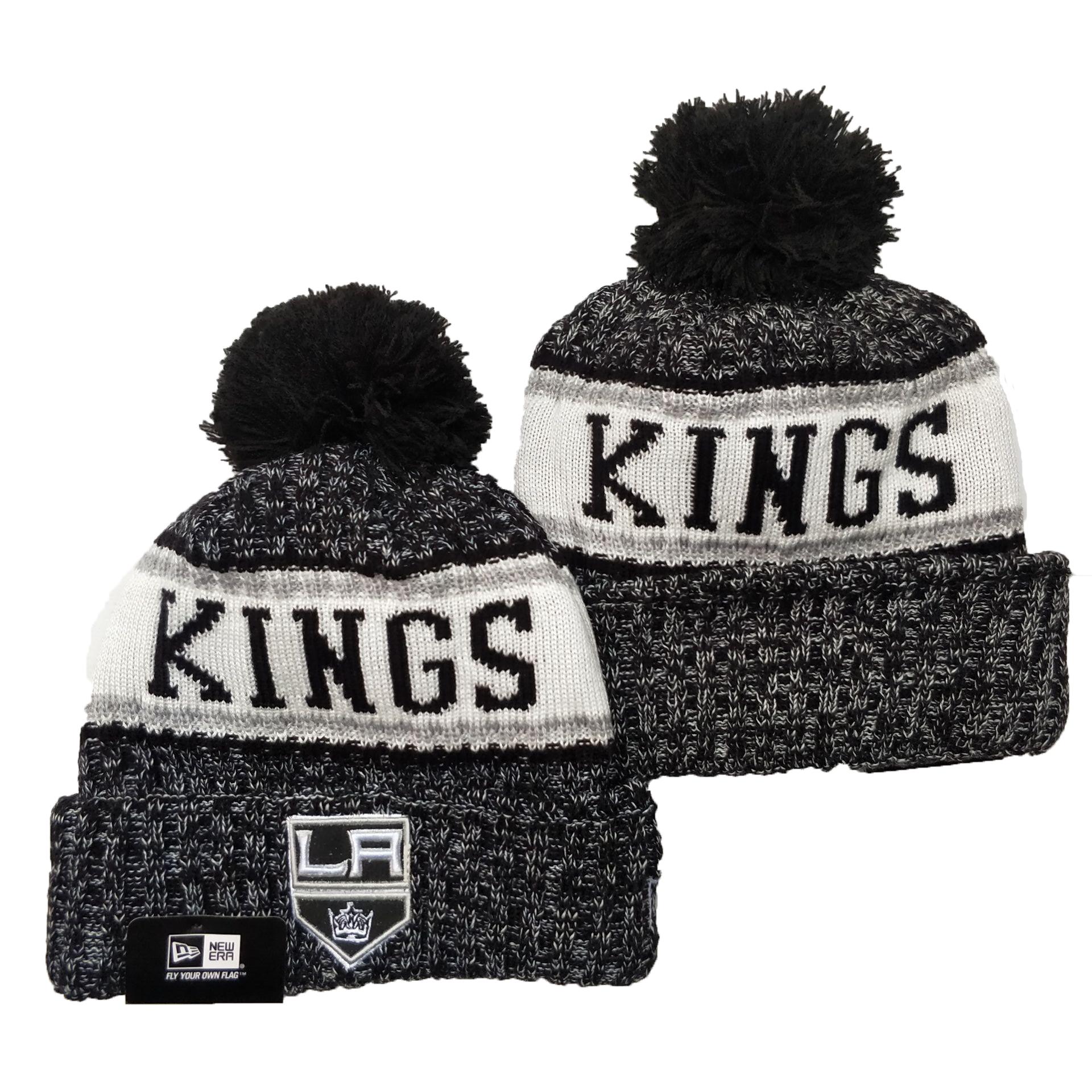 Los Angeles Kings Team Logo Gray Black Pom Cuffed Knit Hat YD