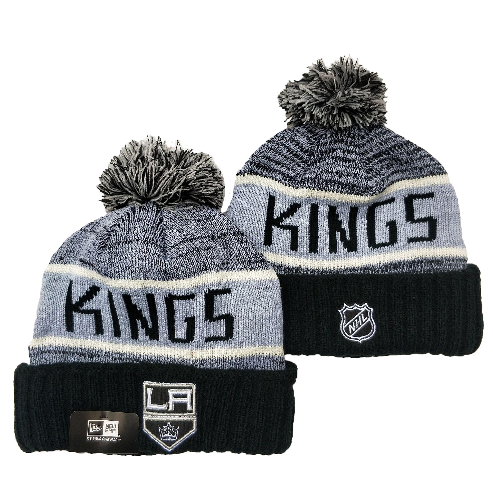 Los Angeles Kings Team Logo Gray Pom Cuffed Knit Hat YD