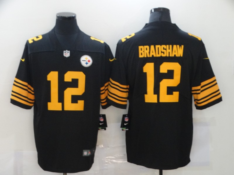 Nike Steelers 12 Terry Bradshaw Black Color Rush Limited Jersey