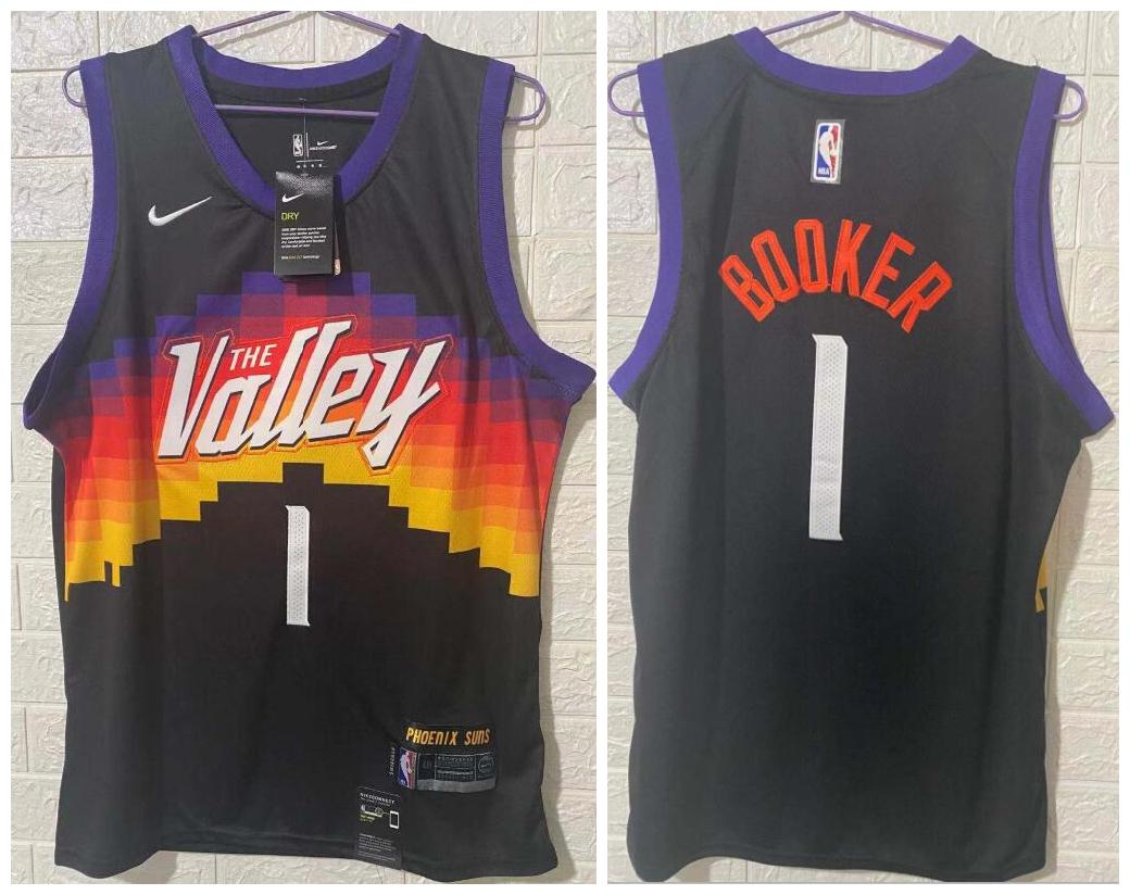 Suns 1 Devin Booker Black 2020-21 City Edition Swingman jersey