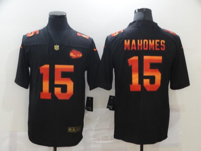 Nike Chiefs 15 Patrick Mahomes Black Colorful Fashion Limited Jersey
