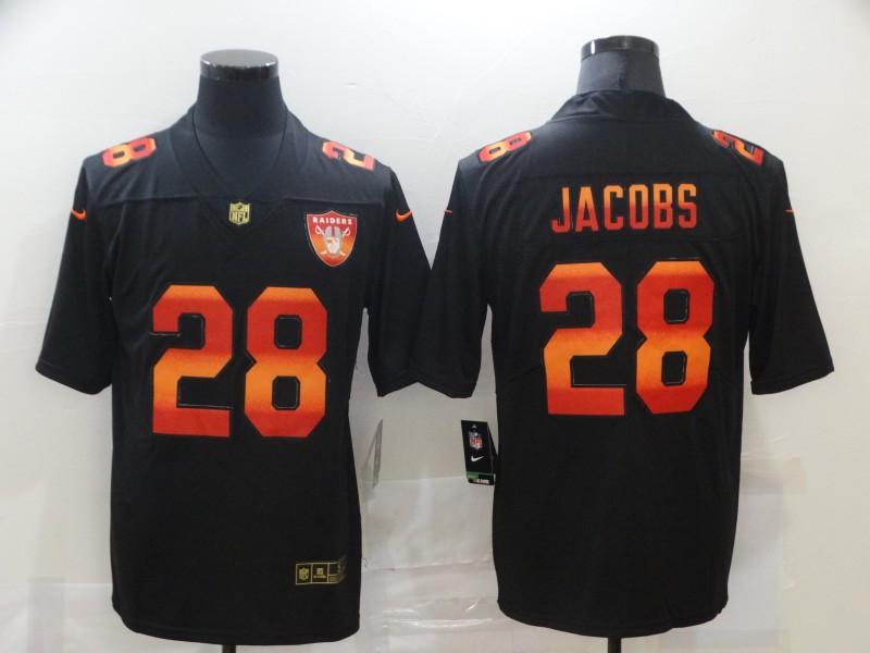 Nike Raiders 28 Josh Jacobs Black Colorful Fashion Limited Jersey