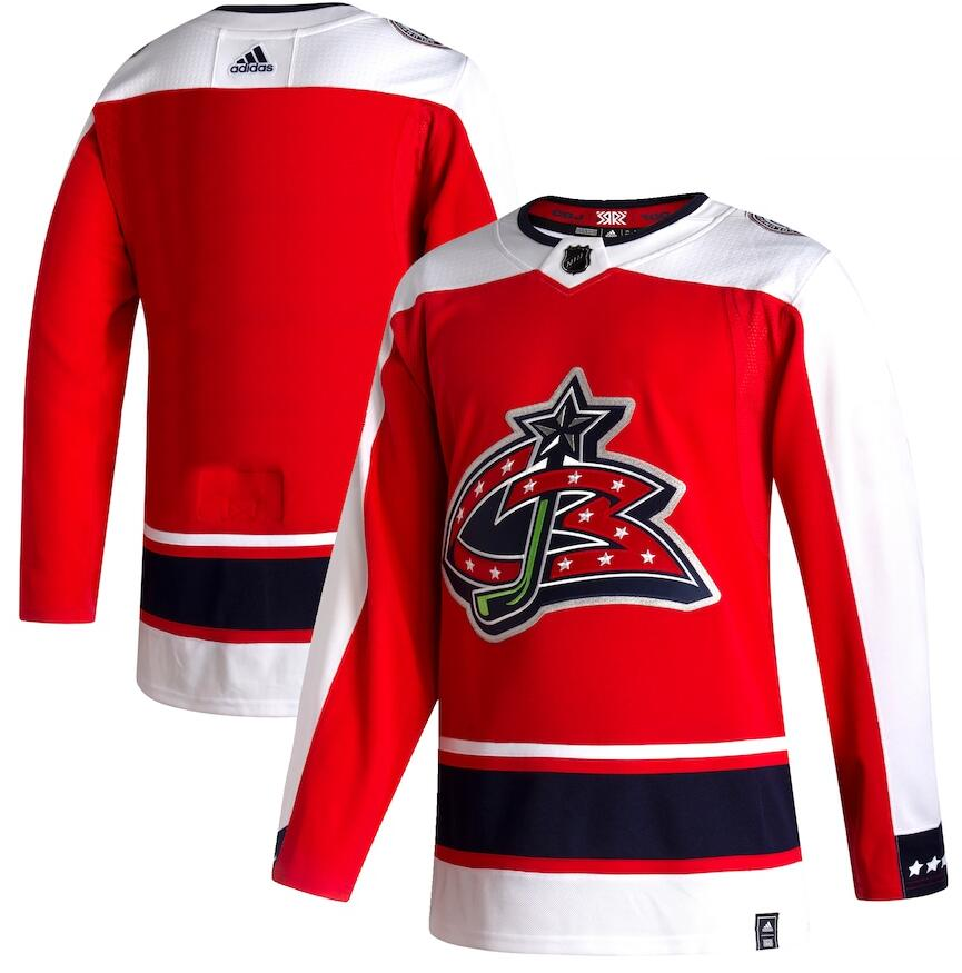 Blue Jackets Blank Red 2020-21 Reverse Retro Adidas Jersey