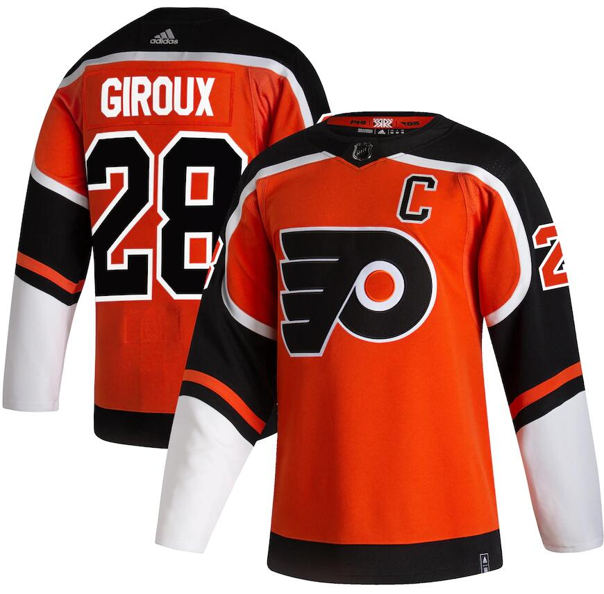 Flyers 28 Claude Giroux Orange 2020-21 Reverse Retro Adidas Jersey