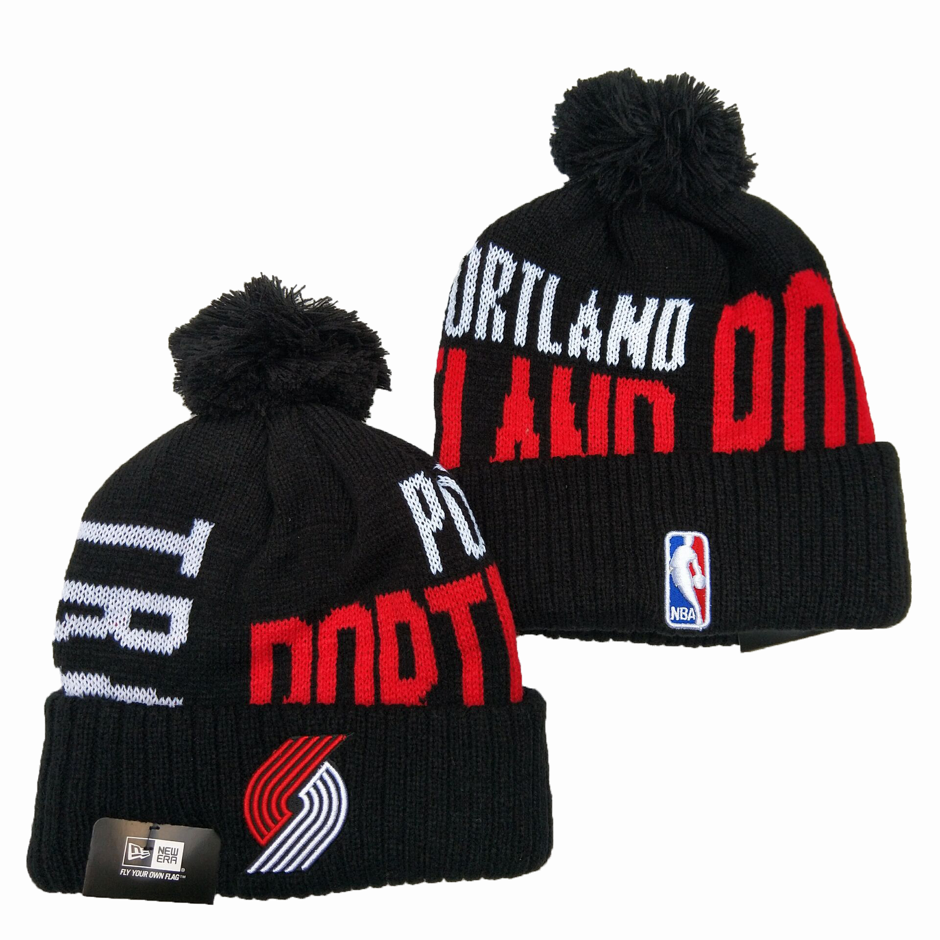 Blazers Team Logo Black Pom Knit Hat YD