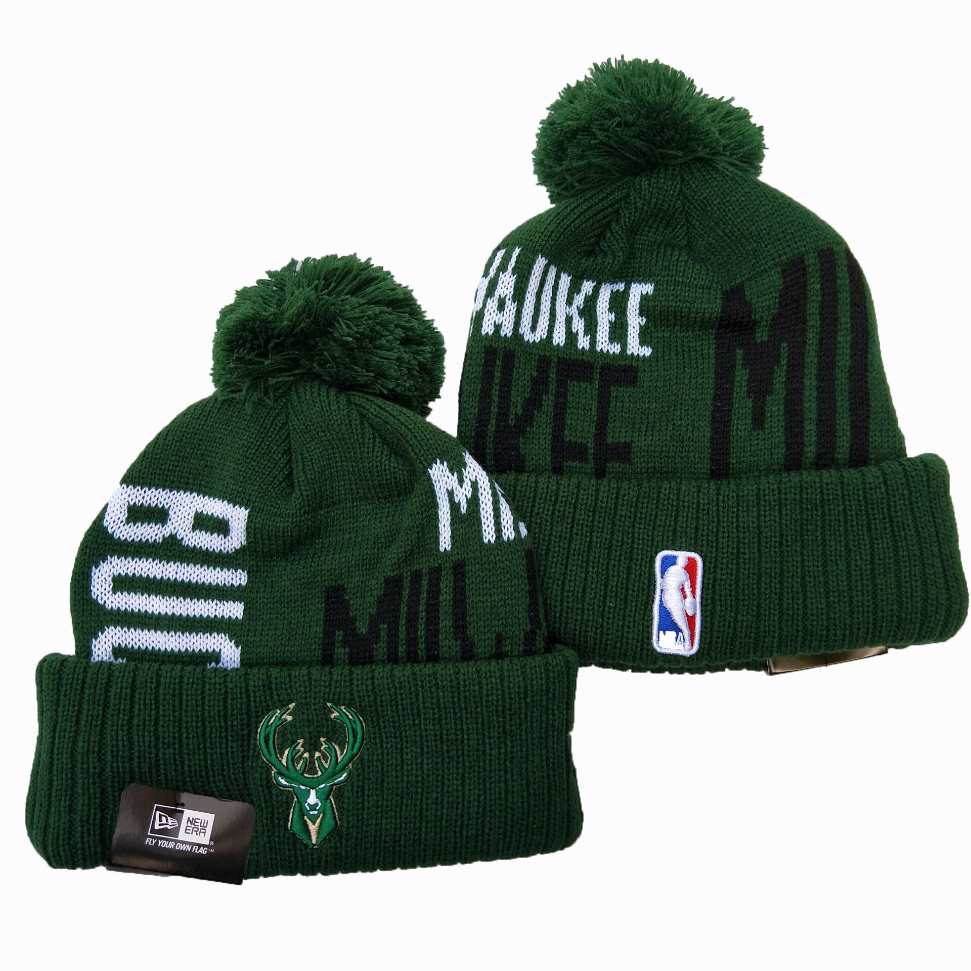 Bucks Team Logo Green Pom Knit Hat YD