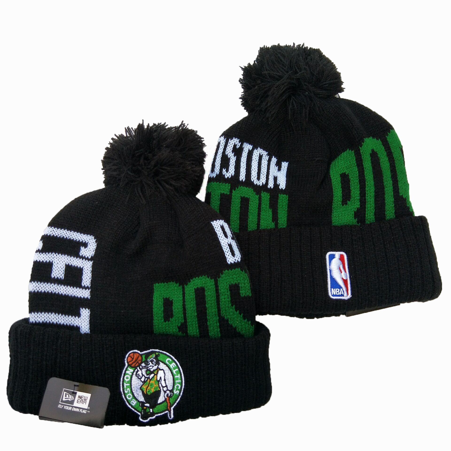 Celtics Team Logo Black Pom Knit Hat YD