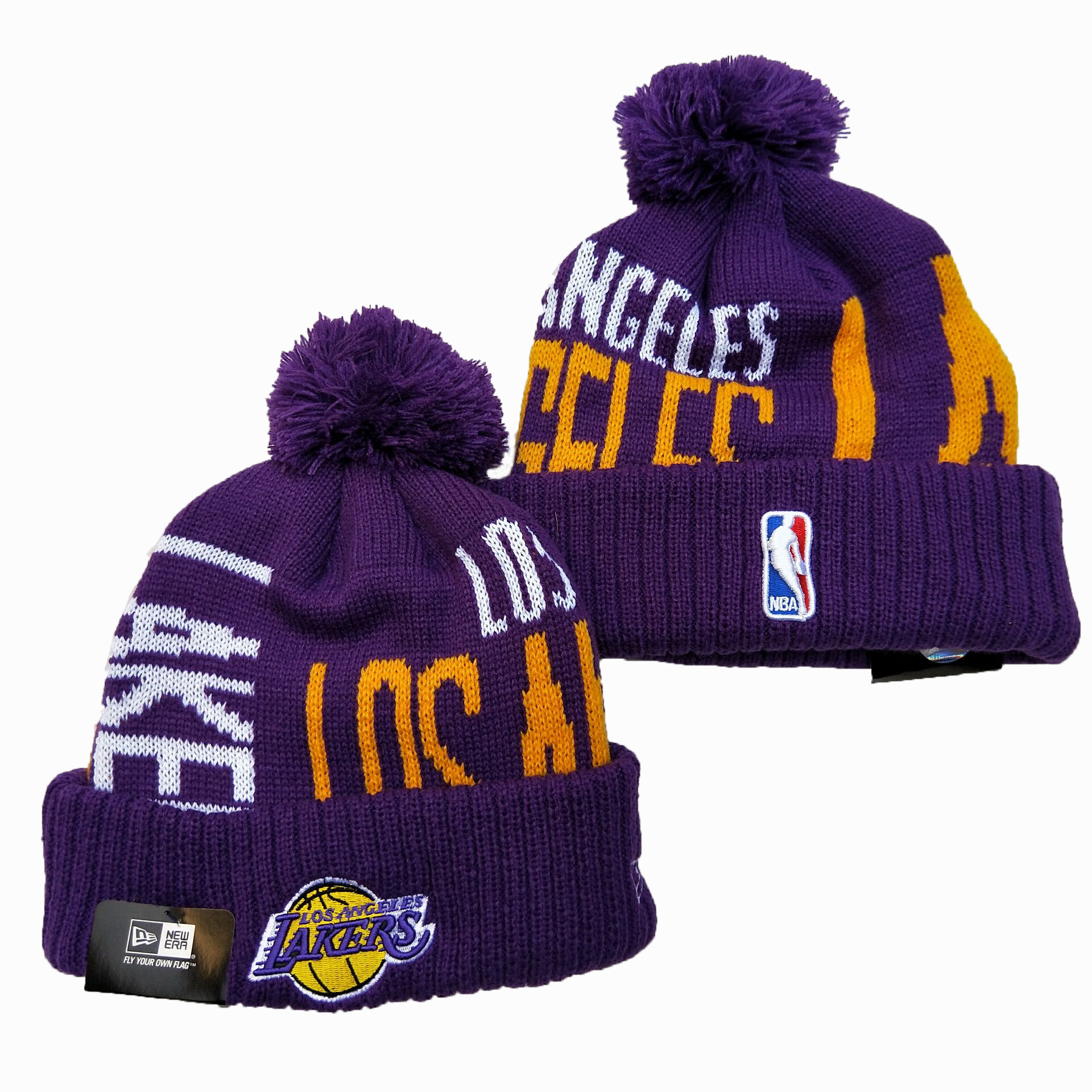 Lakers Team Logo Purple Pom Knit Hat YD