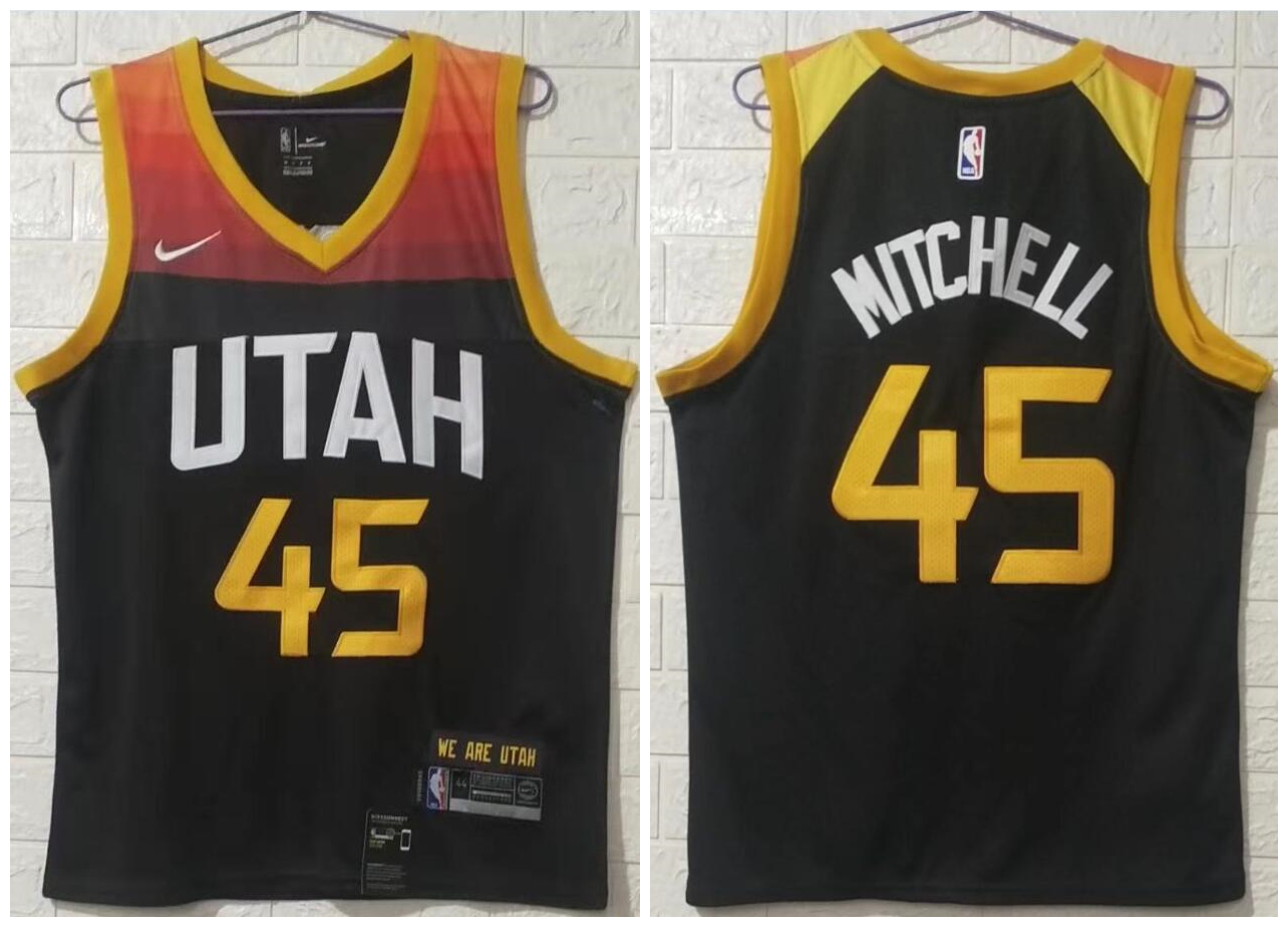 Jazz 45 Donovan Mitchell Black 2020-21 City Edition Nike Swingman Jersey
