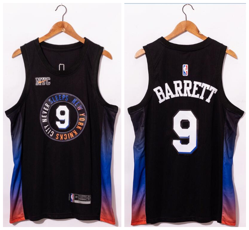 Knicks 9 R.J. Barrett Black 2020-21 City Edition Swingman Jersey