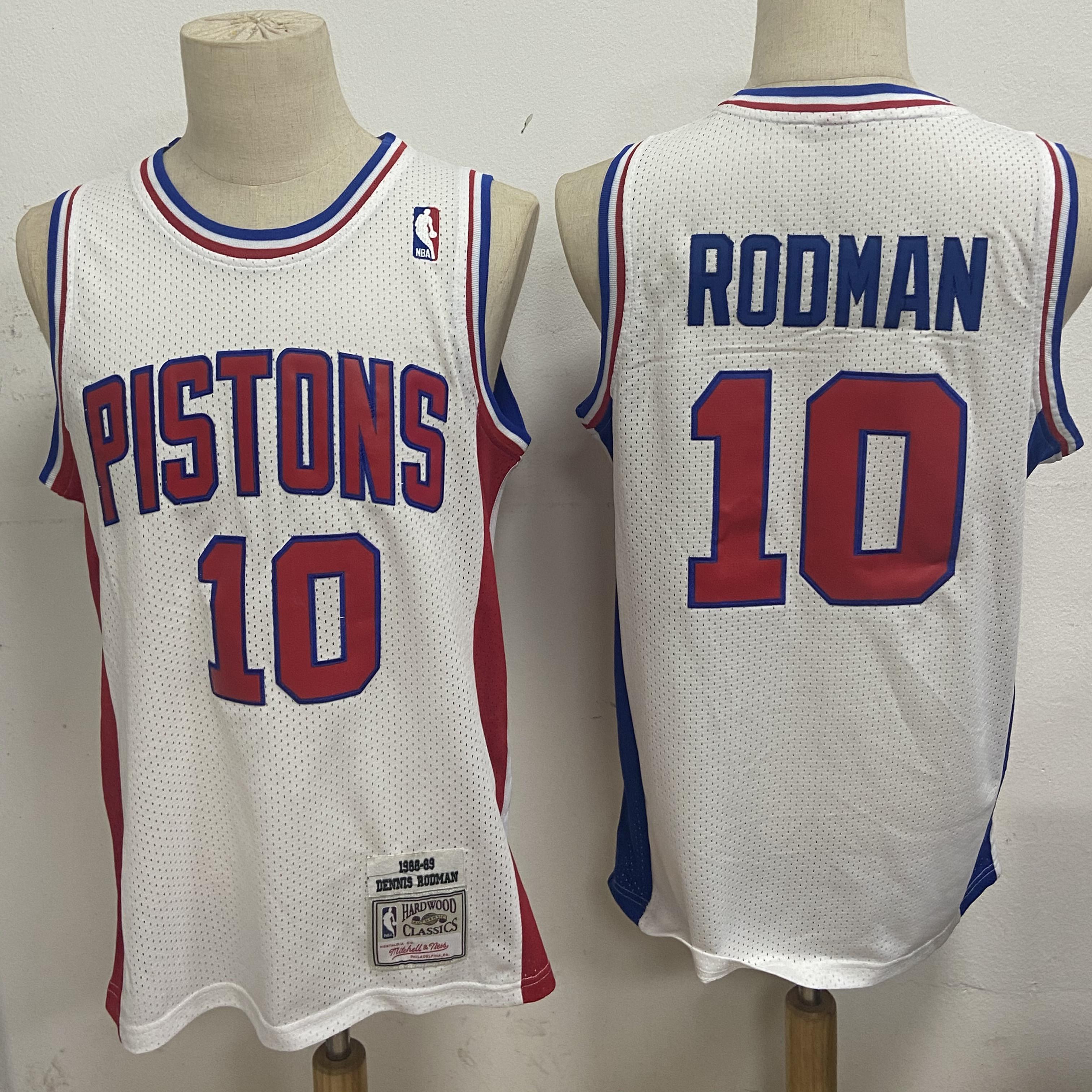 Pistons 10 Dennis Rodman White 1988-89 Hardwood Classics Jersey