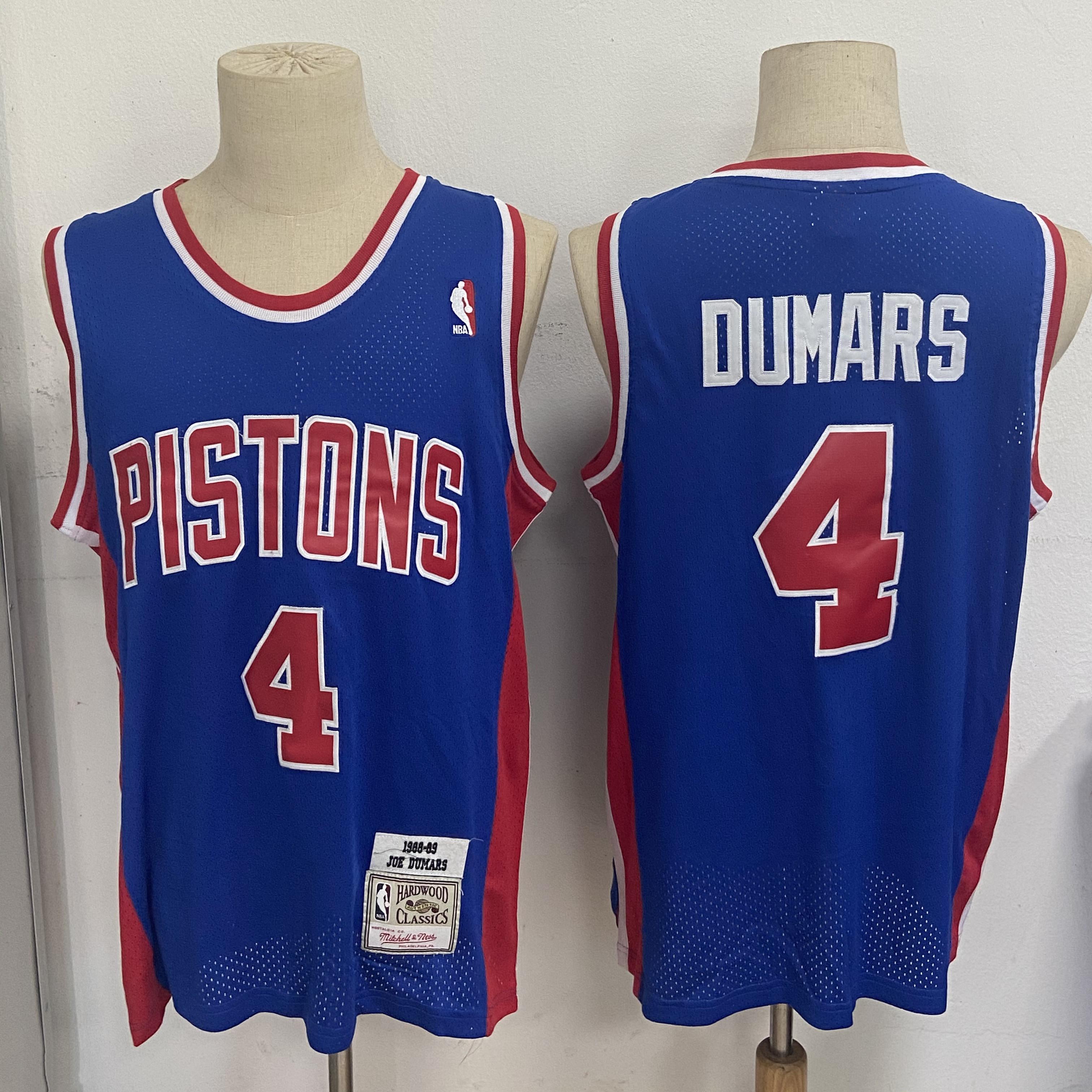 Pistons 4 Joe Dumars Blue 1988-89 Hardwood Classics Mesh Jersey