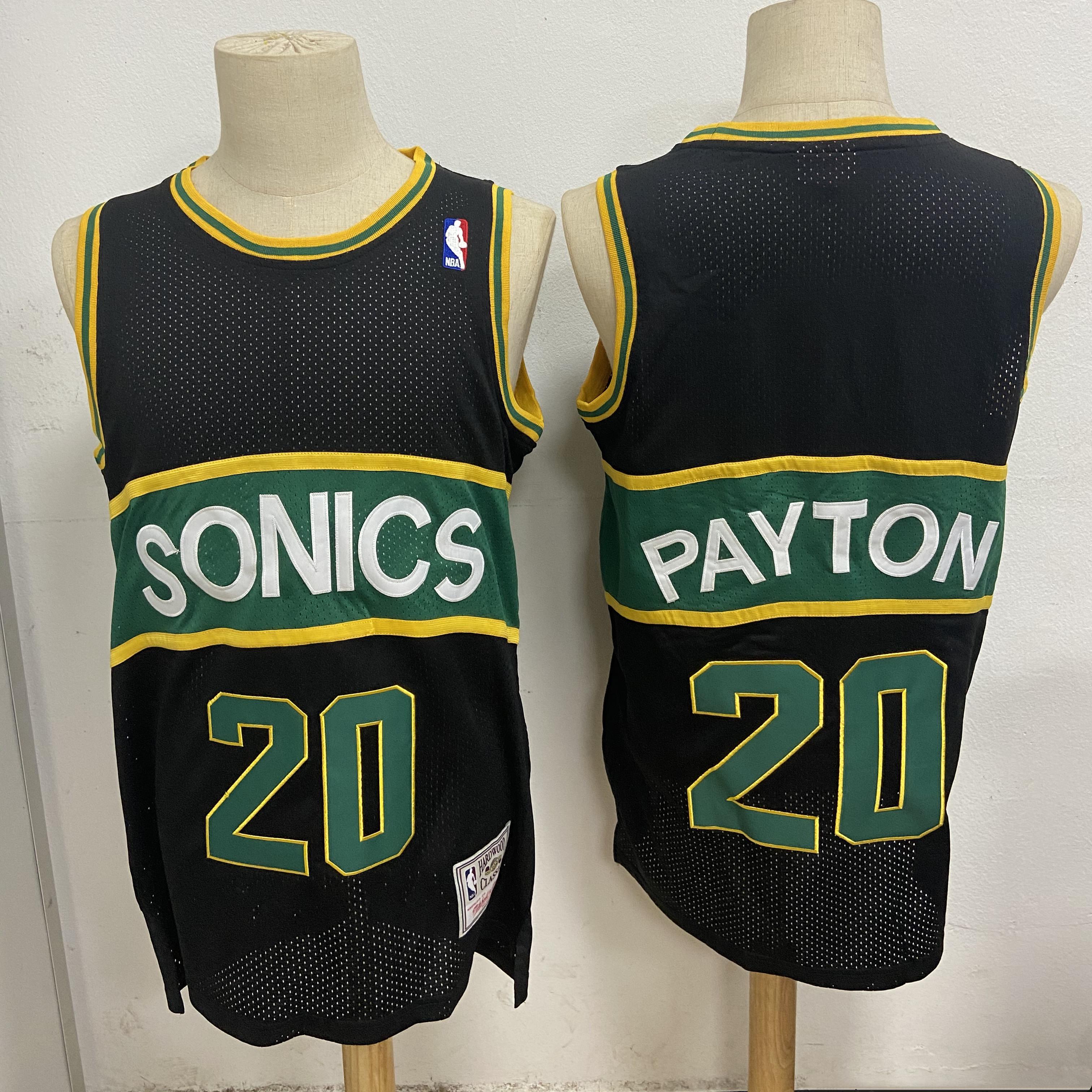SuperSonics 20 Gary Payton Black Hardwood Classics Mesh Jersey