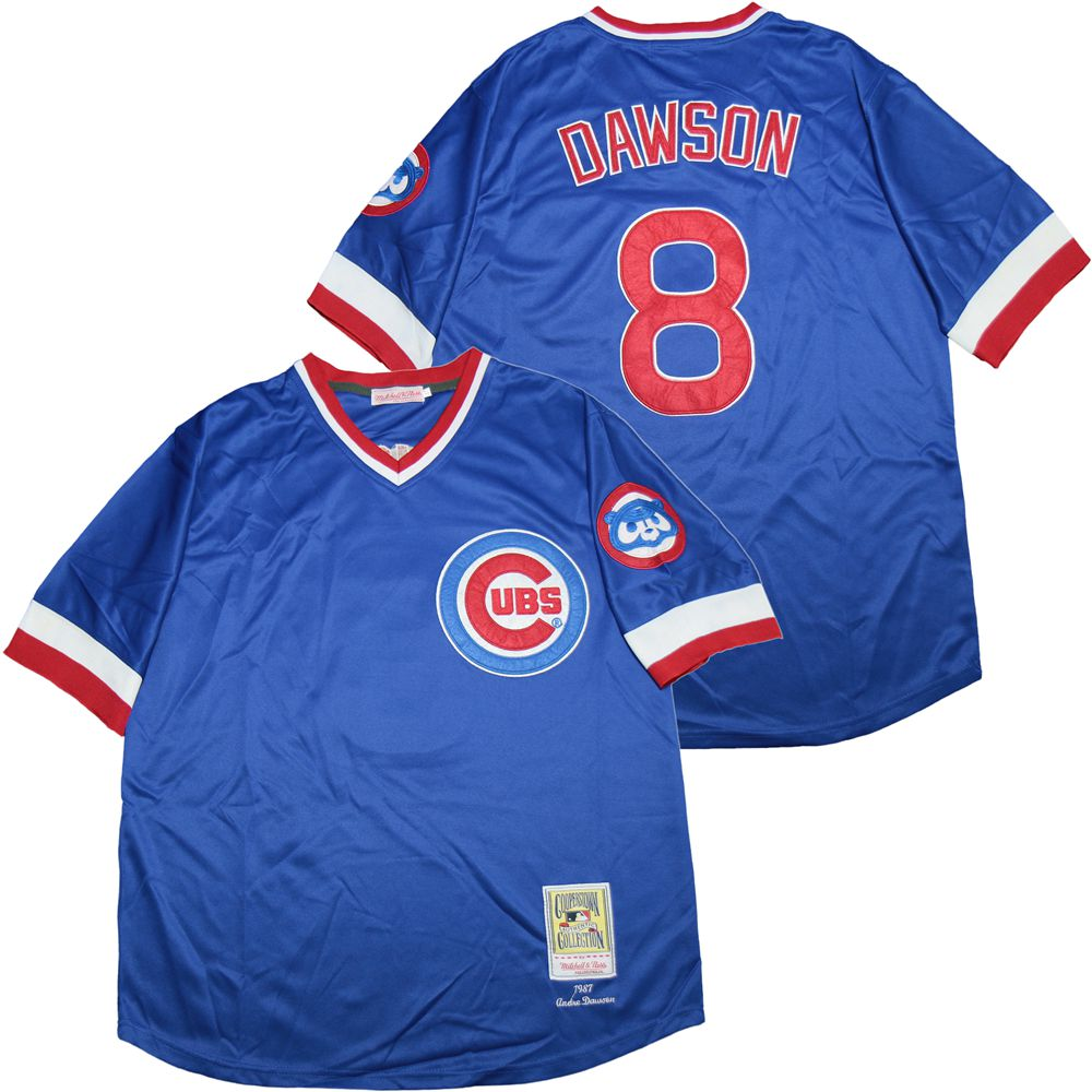 Cubs 8 Andre Dawson Blue 1987 Cooperstown Collection Jersey