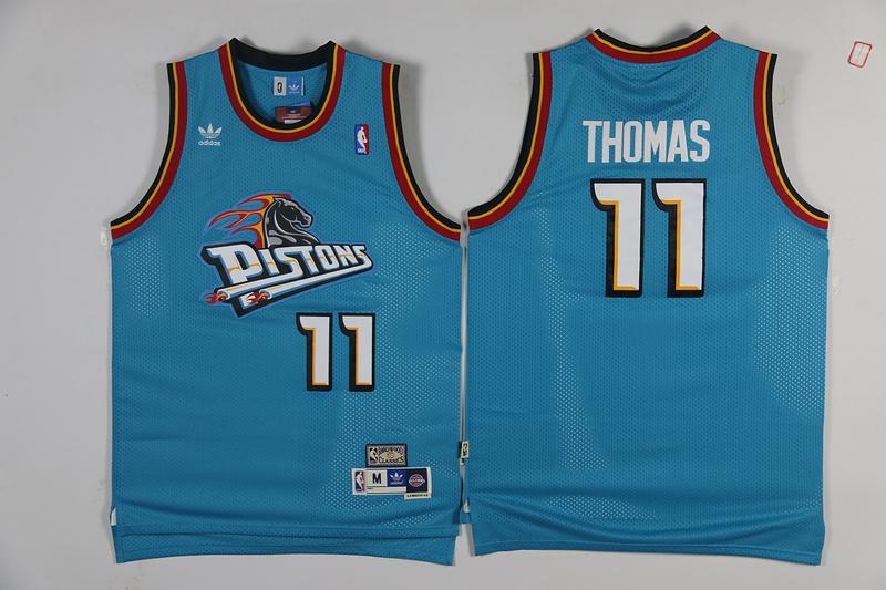 Pistons 11 Isiah Thomas Blue Hardwood Classics Mesh Jersey