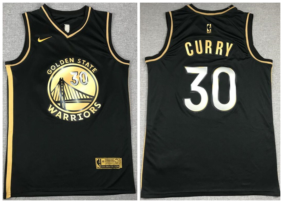 Warriors 30 Stephen Curry Black Gold 2021 Nike Swingman Jersey
