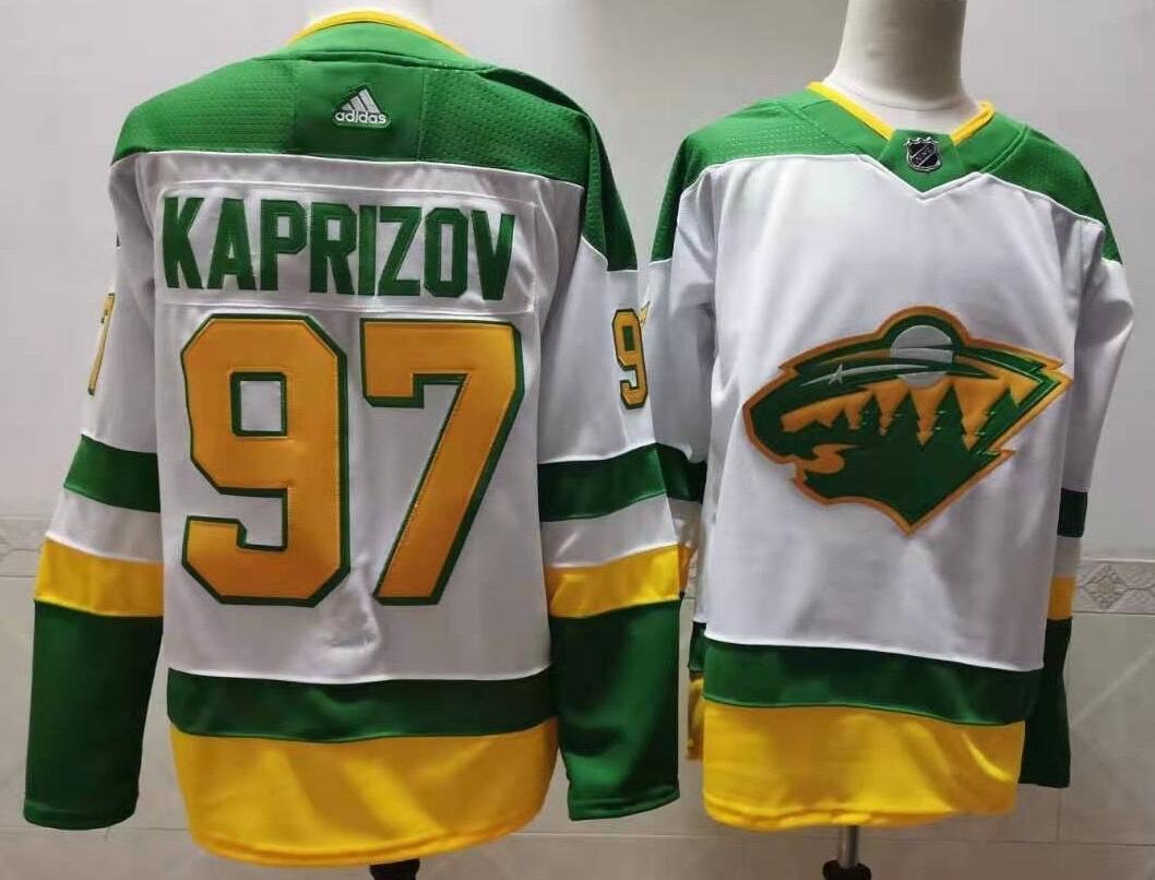 Wild 97 Kirill Kaprizov White 2020-21 Reverse Retro Adidas Jersey