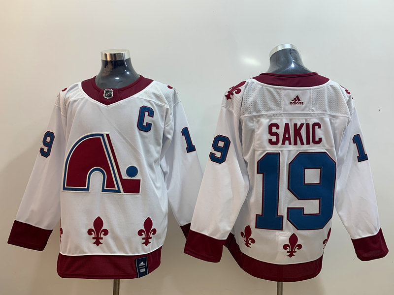 Avalanche 19 Joe Sakic White 2020-21 Reverse Retro Adidas Jersey