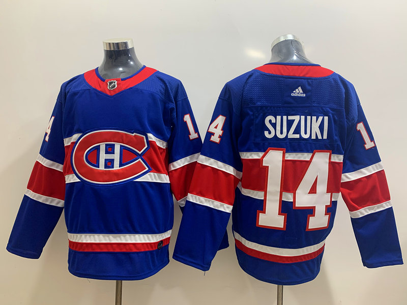 Canadiens 14 Nick Suzuki Blue 2020-21 Reverse Retro Adidas Jersey