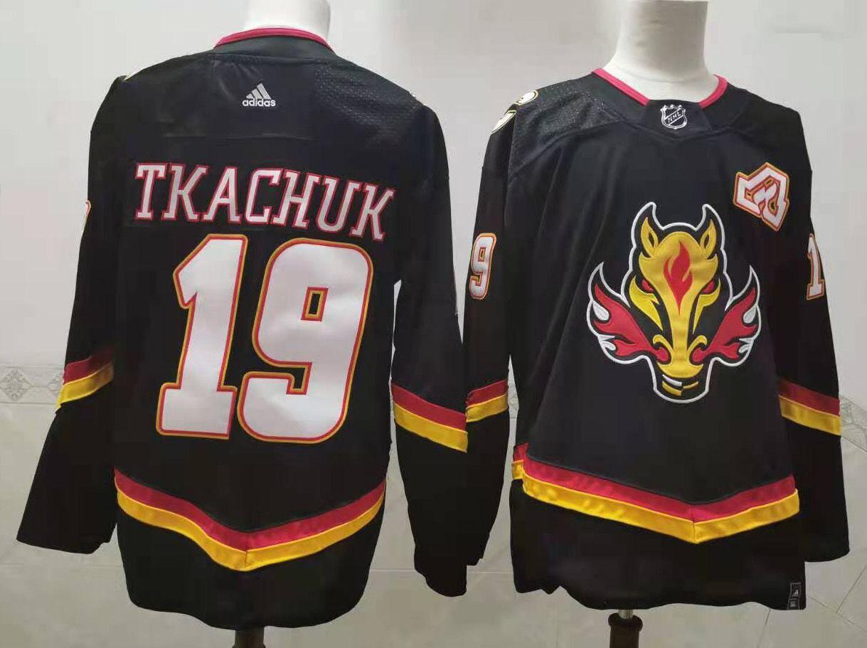 Flames 19 Matthew Tkachuk Black 2020-21 Reverse Retro Adidas Jersey