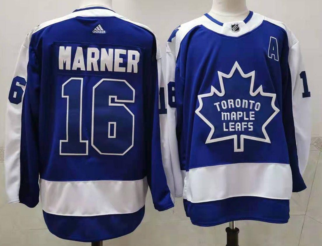Maple Leafs 16 Mitchell Marner Blue 2020-21 Reverse Retro Adidas Jersey