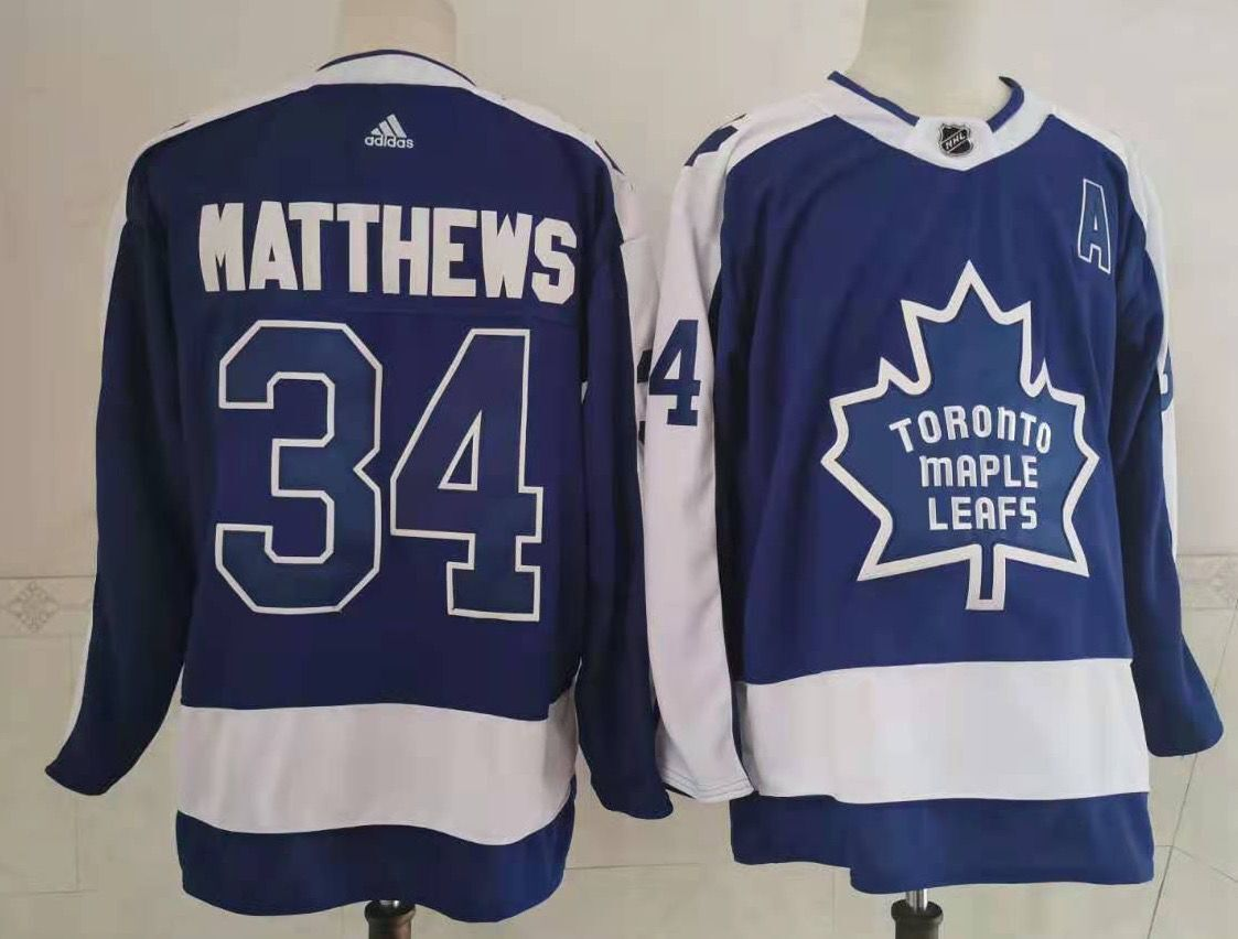 Maple Leafs 34 Auston Matthews Blue 2020-21 Reverse Retro Adidas Jersey