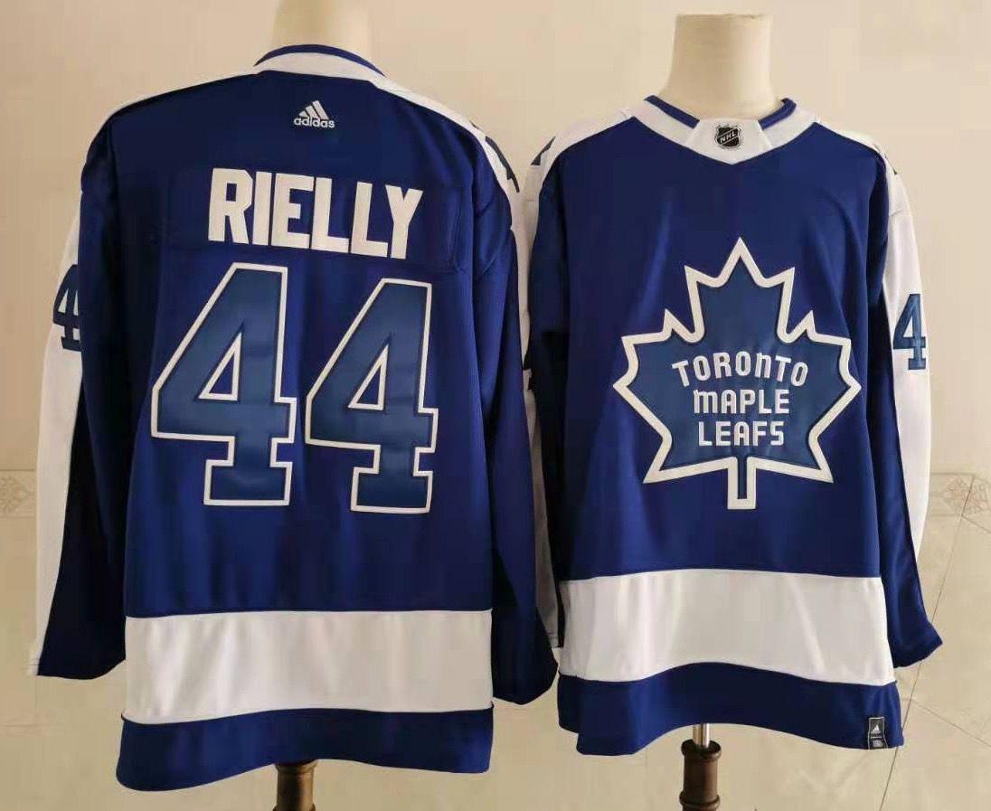 Maple Leafs 44 Morgan Rielly Blue 2020-21 Reverse Retro Adidas Jersey