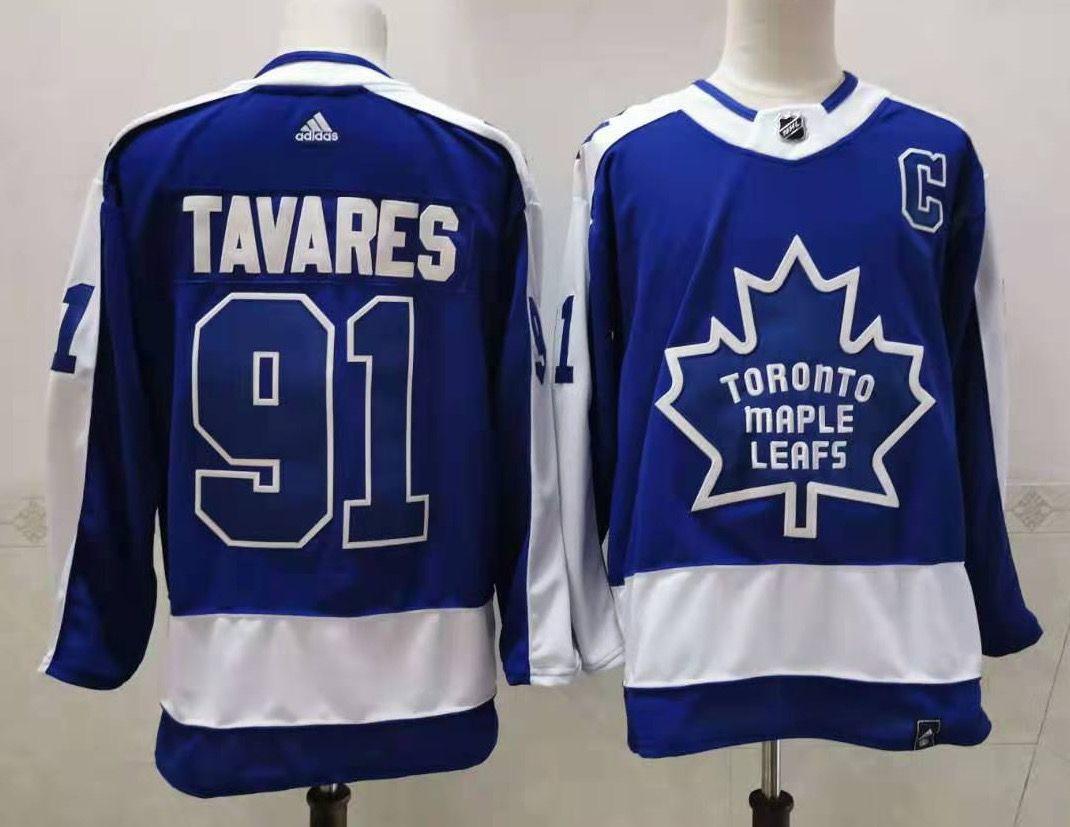 Maple Leafs 91 John Tavares Blue 2020-21 Reverse Retro Adidas Jersey