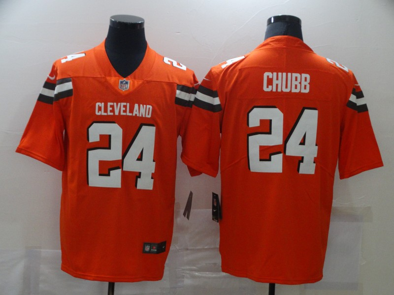 Nike Browns 24 Nick Chubb Orange Vapor Untouchable Limited Jersey
