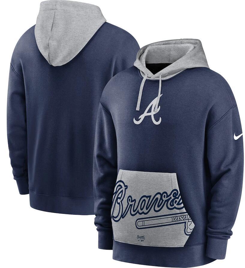 Men's Atlanta Braves Nike Navy Gray Heritage Tri Blend Pullover Hoodie