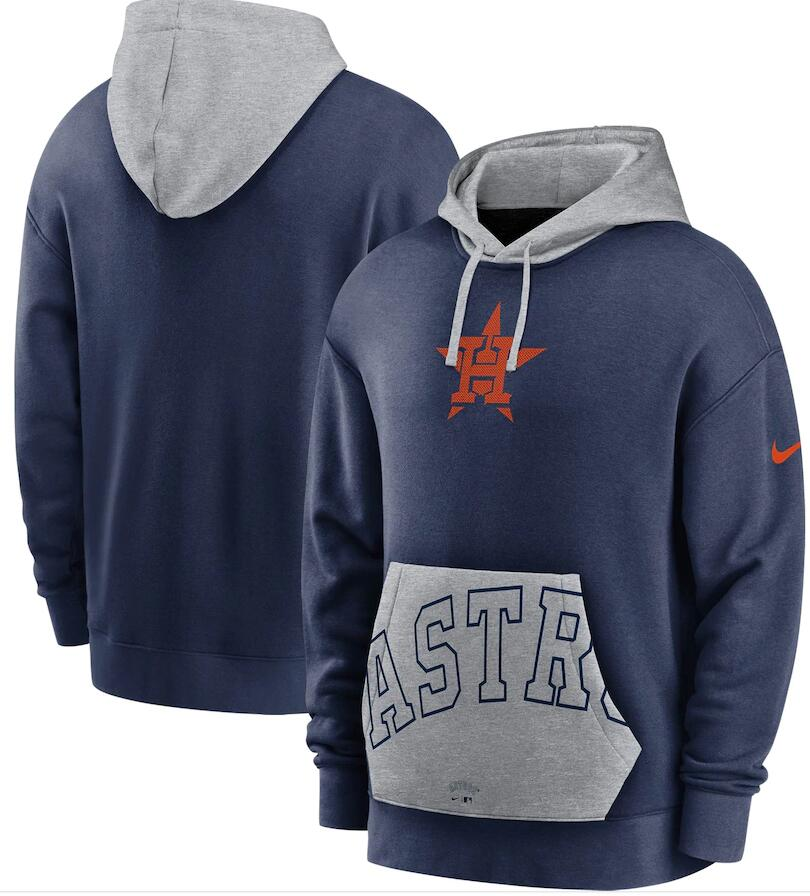 Men's Houston Astros Nike Navy Gray Heritage Tri Blend Pullover Hoodie