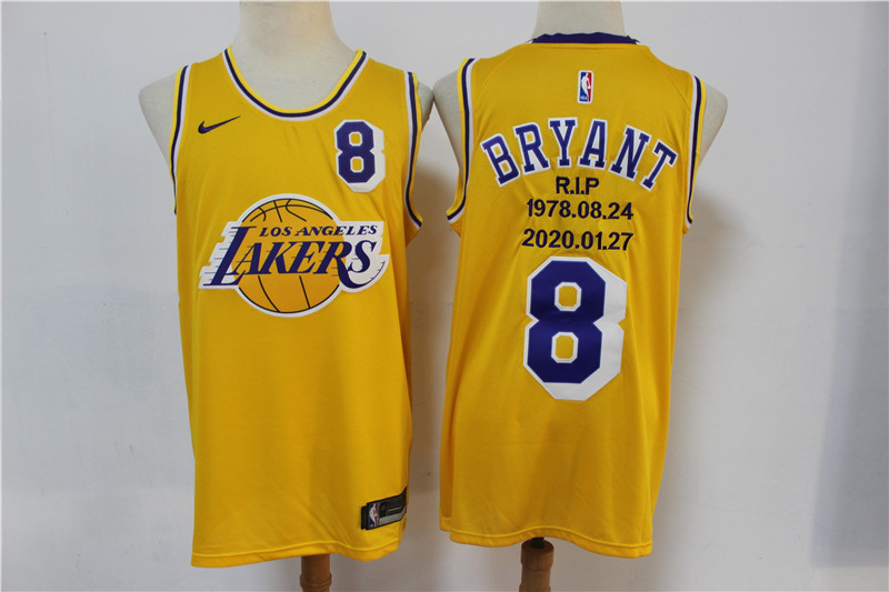 Lakers 8 Kobe Bryant Yellow Nike R.I.P Swingman Fashion Jersey