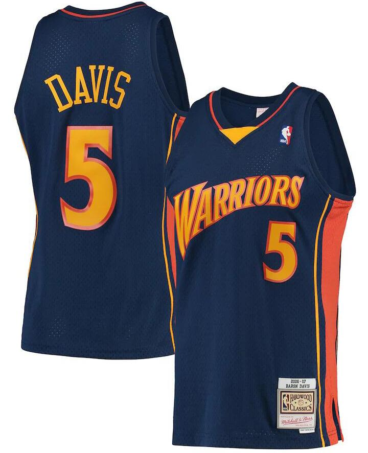 Warriors 5 Baron Davis Navy 2006-07 Hardwood Classics Jersey