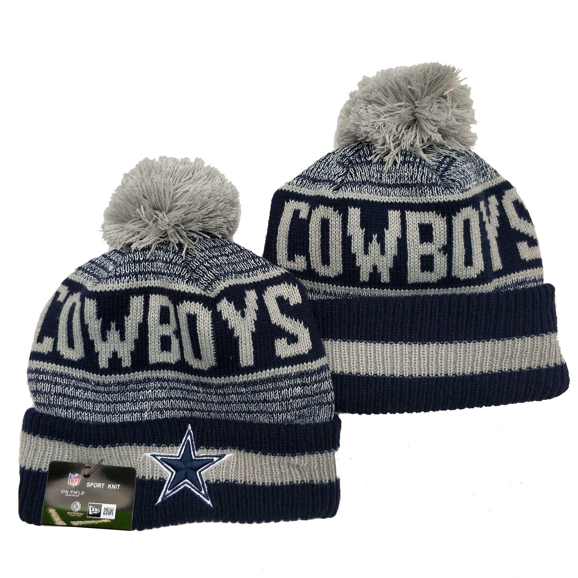 Cowboys Team Logo Navy Pom Cuffed Knit Hat YD