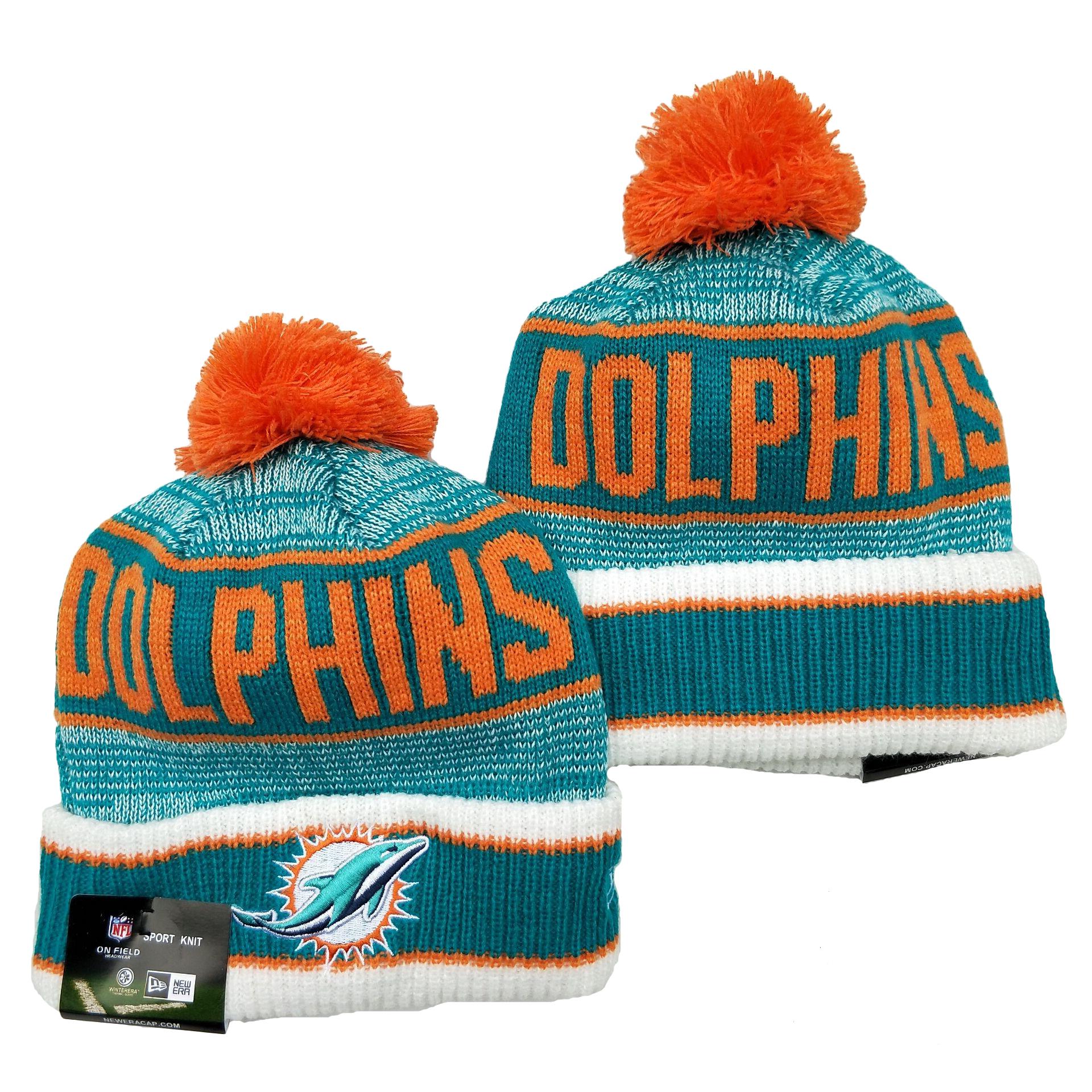 Dolphins Team Logo Aqua Pom Cuffed Knit Hat YD