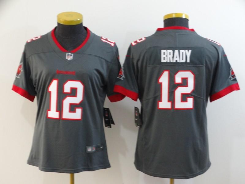 Nike Buccaneers 12 Tom Brady Gray Women New 2020 Vapor Untouchable Limited Jersey