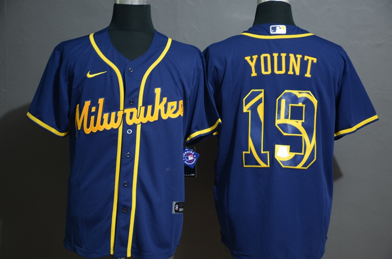 Brewers 19 Robin Yount Royal 2020 Nike Cool Base Fashion Jersey