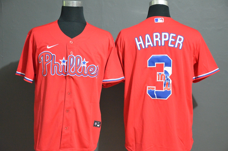 Phillies 3 Bryce Harper Red 2020 Nike Cool Base Fashion Jersey