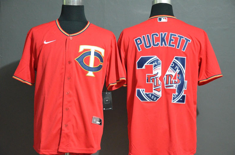 Twins 34 Kirby Puckett Red 2020 Nike Cool Base Fashion Jersey