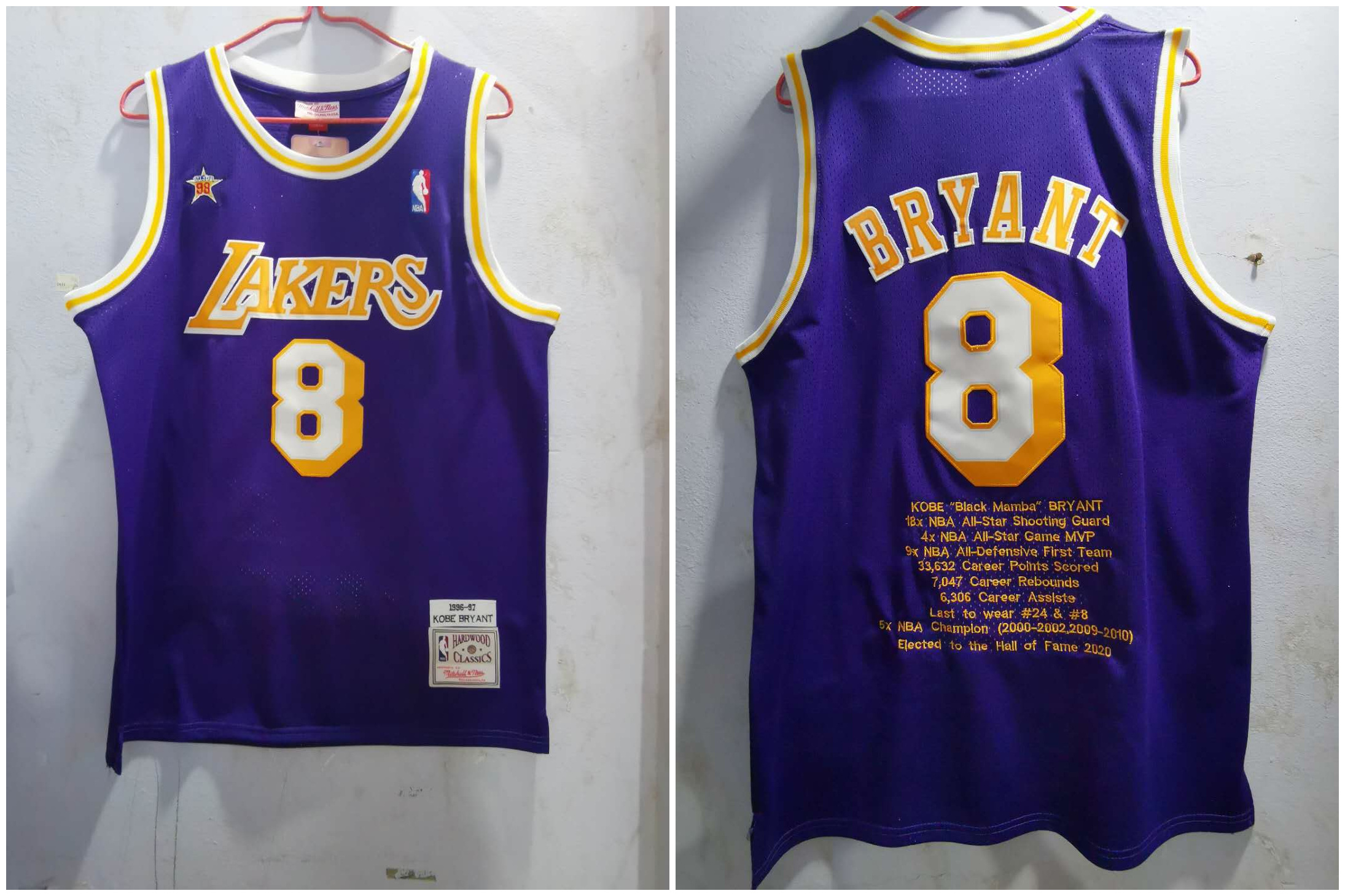 Lakers 8 Kobe Bryant Purple 1996-97 Hardwood Classics Jersey