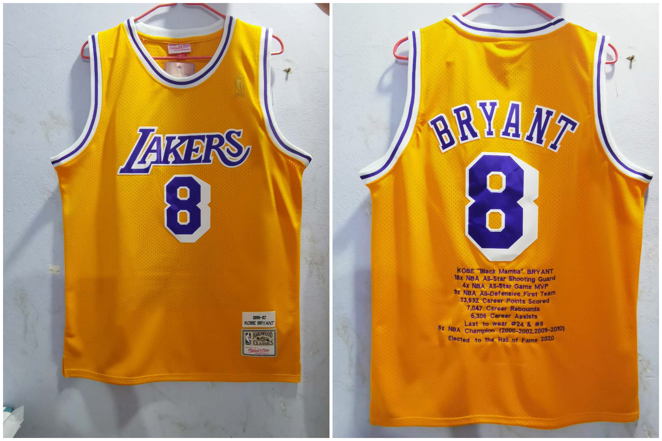 Lakers 8 Kobe Bryant Yellow 1996-97 Hardwood Classics Jersey