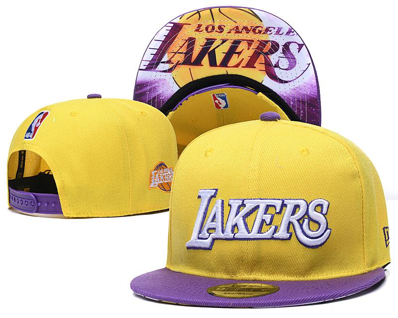 Lakers Team Logo Yellow Adjustable Hat YD