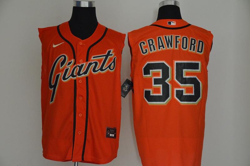 Giants 35 Brandon Crawford Orange Nike Cool Base Sleeveless Jersey