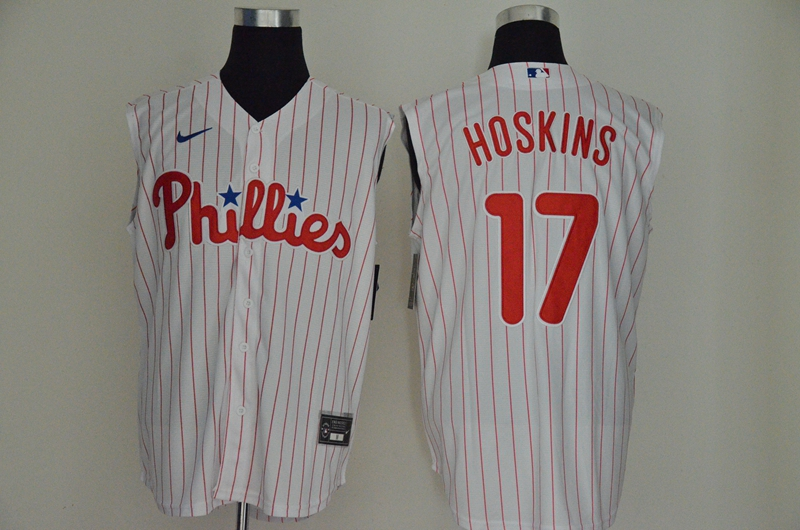 Phillies 17 Rhys Hoskins White Gold Nike Cool Base Sleeveless Jersey