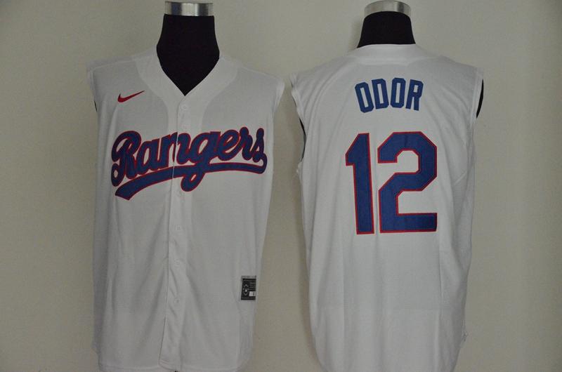 Rangers 12 Rougned Odor White Nike Cool Base Sleeveless Jerseys