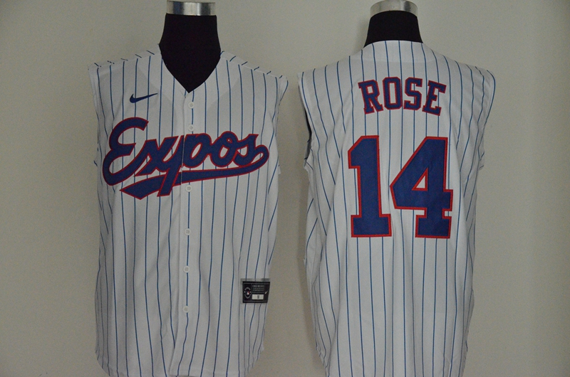 Expos 14 Pete Rose White Nike Cool Base Sleeveless Jersey