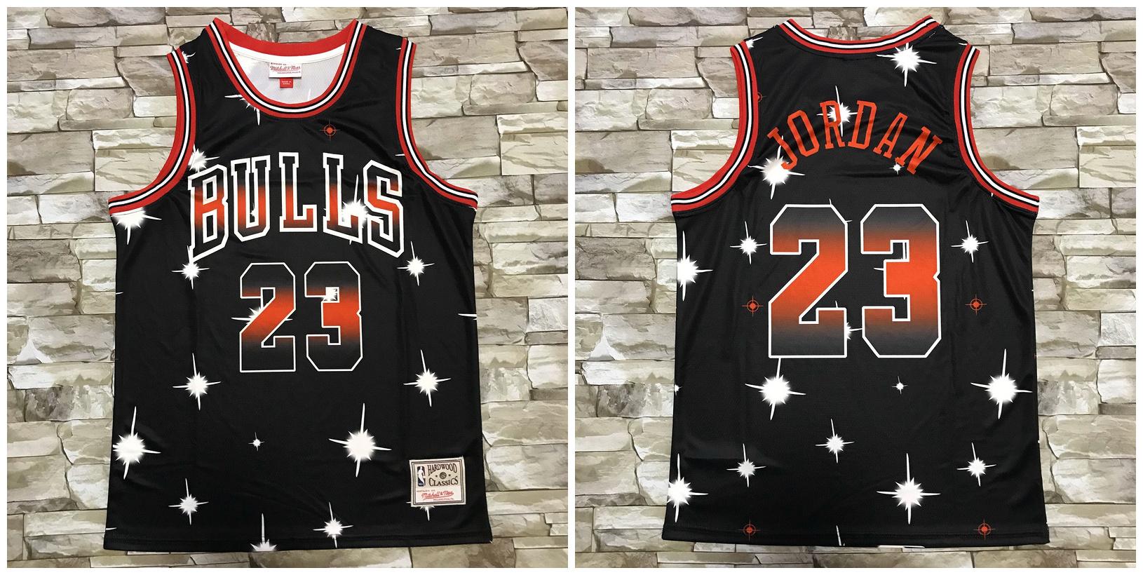 Bulls 23 Michael Jordan Black Star Hardwood Classics Jersey