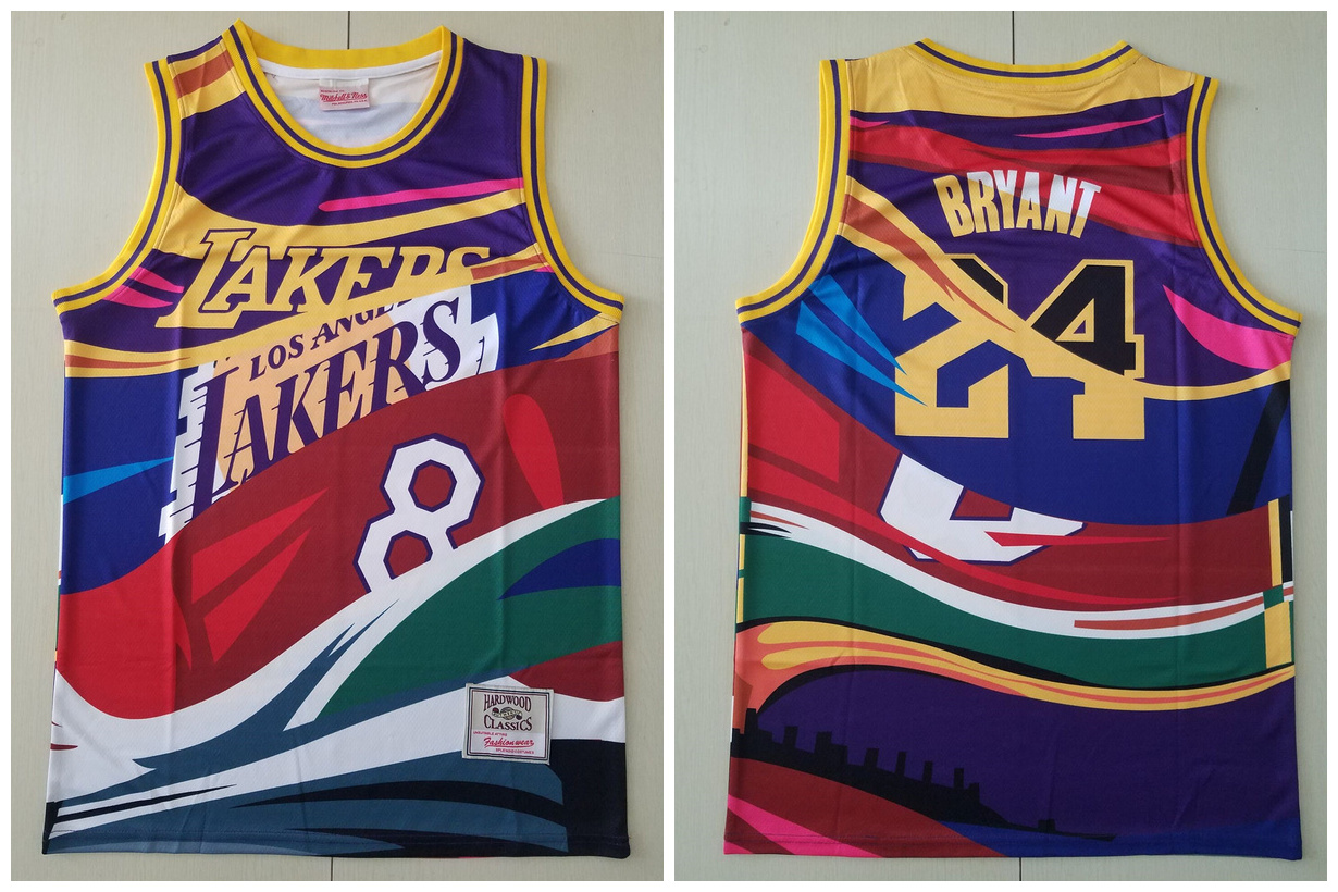 Lakers 24 Kobe Bryant Big Face Color Hardwood Classics Swingman Jersey