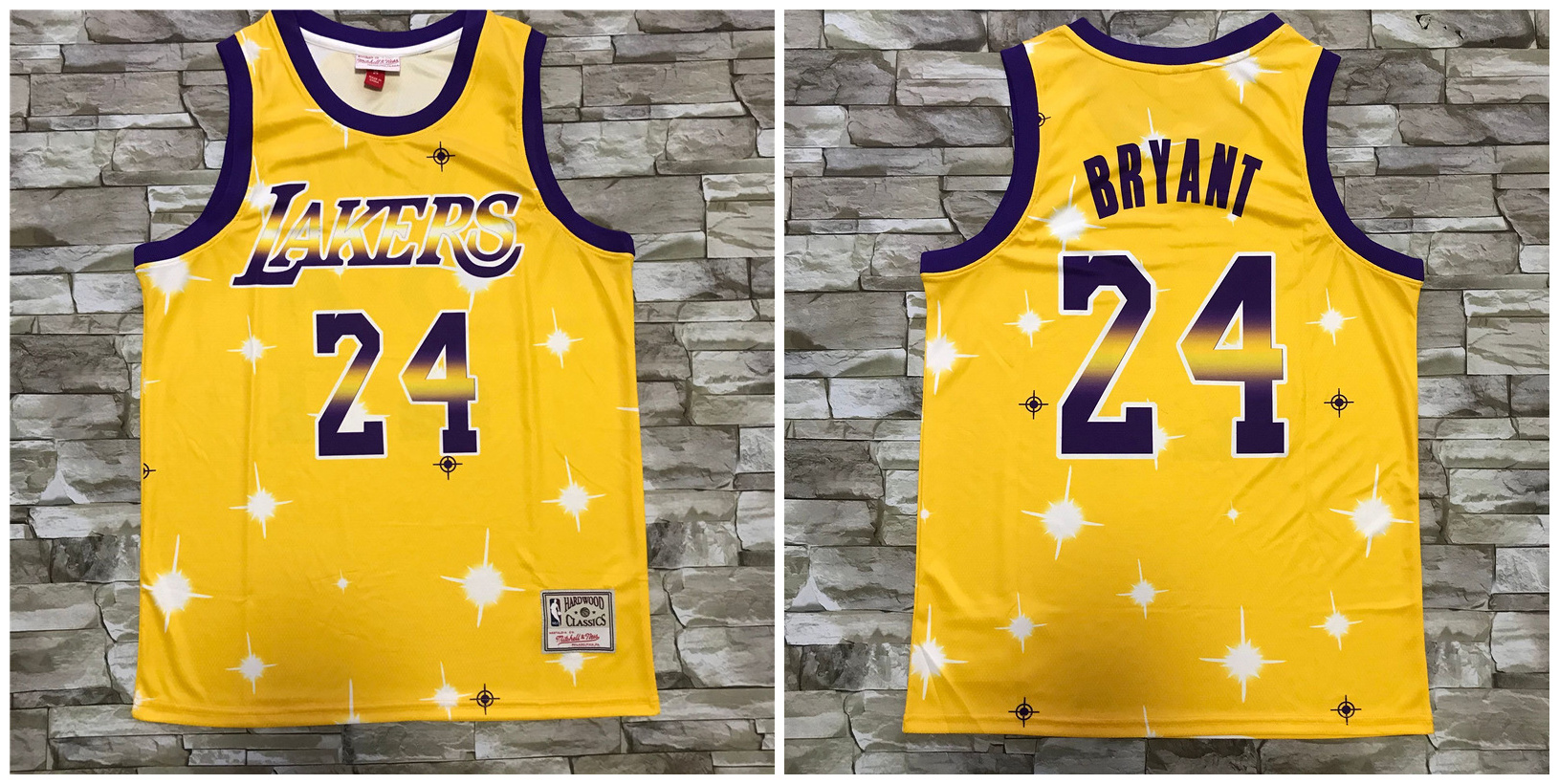 Lakers 24 Kobe Bryant Yellow Star Hardwood Classics Jersey