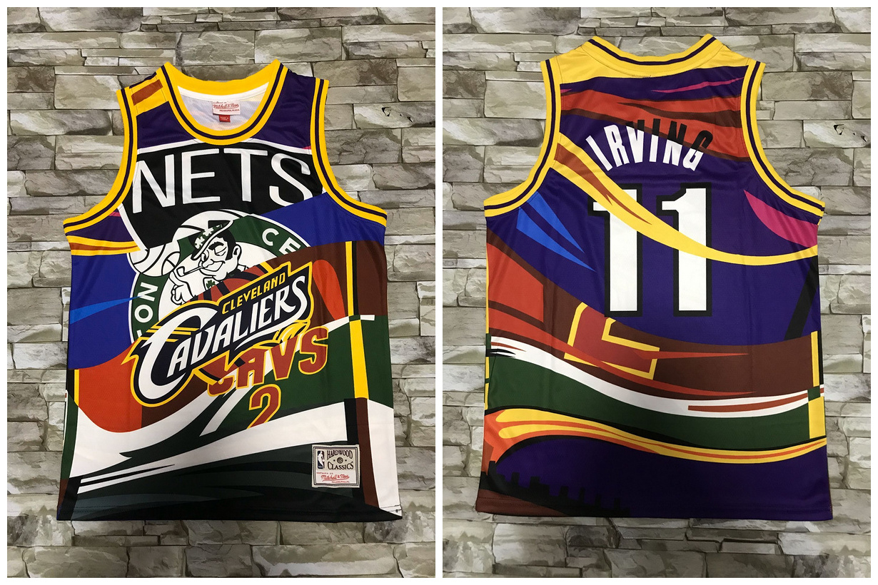 Nets and Multi Team 11 Kyrie Irving Big Face Color Hardwood Classics Swingman Jersey